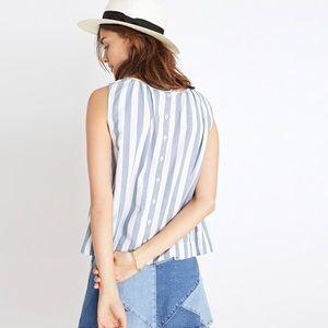 Madewell • Button Back Top in Indigo Stripe